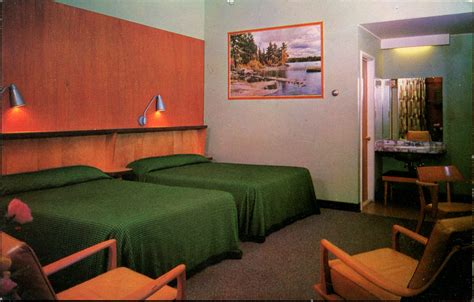 postcards  mid century motel rooms  style