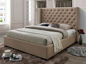 Tete De Lit Tissu : lit massimo t te de lit capitonn e 160x200cm tissu beige ~ Premium-room.com Idées de Décoration