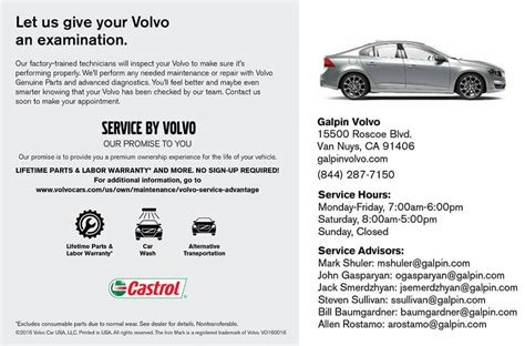 galpin volvo service specials coupons oil change tires