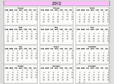 Yearly 2012 Printable Calendar color & weekday starts Sunday