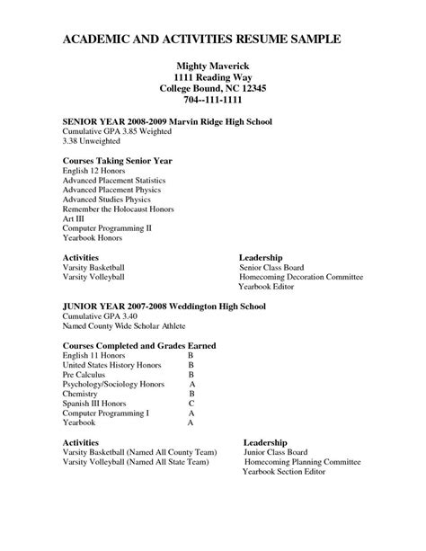Grade 8 Resume Template by Activities High School Resume High School Resume
