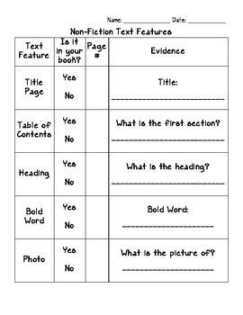 non fiction text features graphic organizer school