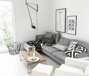 Peinture Blanc Gris : un salon en gris et blanc c 39 est chic voil 82 photos qui en t moignent ~ Nature-et-papiers.com Idées de Décoration