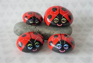 Painted, Rocks, Painted, Stones, Red, Lady, Bug, Lady, Bird