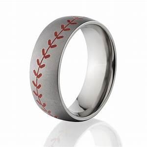 Red Stitch Baseball Ring Titanium Baseball Wedding Band
