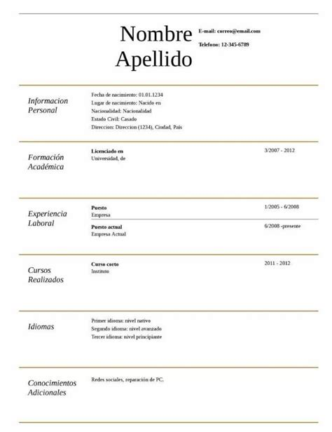 Modelos De Resume by Argentina Para Completar Hacking Resume