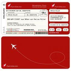 einladungskarten flugticket geburtstag ticket einladung