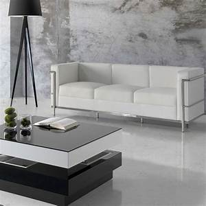 Canapé Cuir Blanc 2 Places : canap 3 places cuir blanc inox moderne design corbs univers du salon ~ Teatrodelosmanantiales.com Idées de Décoration