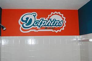 miami dolphins mural in a bathroom by tom taylor of mural With bathroom supplies miami