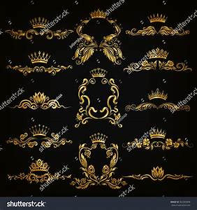 Set Gold Monogram Graphic Design On Stock Vector 362365898 ...