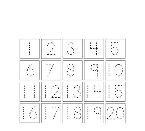 trace number 1 20 worksheet learning printable