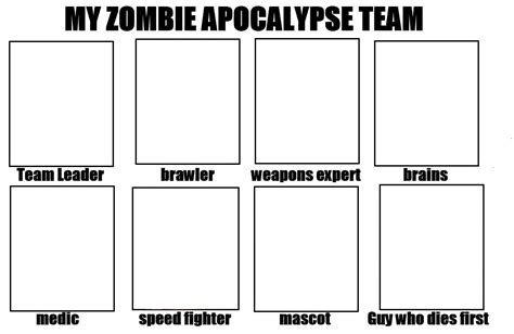 Meme Template Maker - my zombie apocalypse team blank template imgflip