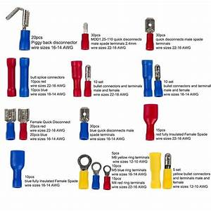 271pcs Wire Terminals Crimp Connectors  19 Types Insulated Electrical Cable Spade Set  Color Red