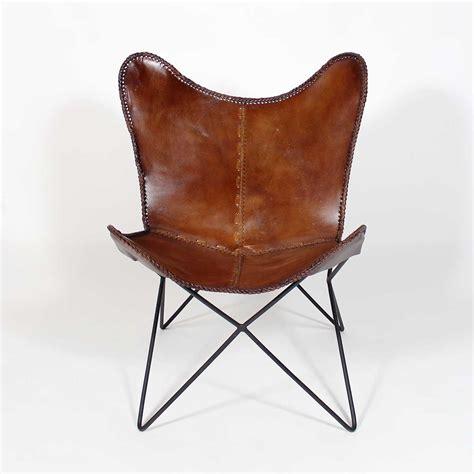 fauteuil bureau industriel fauteuil papillon en cuir marron made in meubles