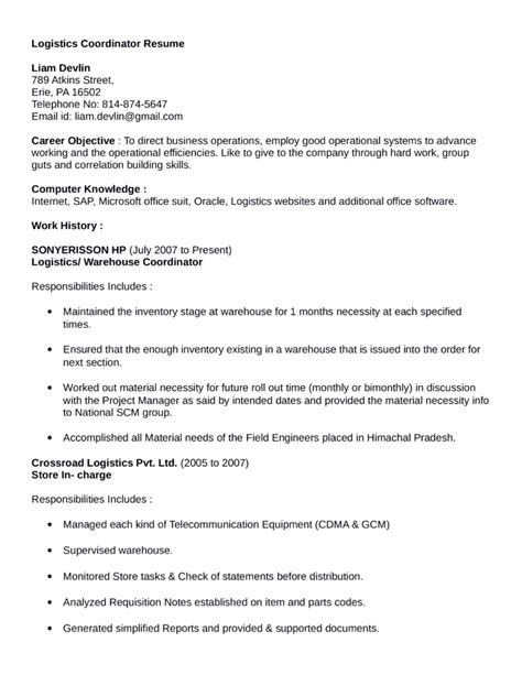 Logistics Coordinator Resume by Professional Logistics Coordinator Resume Template