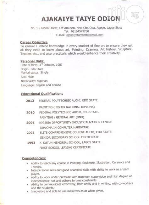 Resume Registration Nysc by Resume From Ajakaiye Taiye In Lagos Cv For Teaching Position On Jiji Ng