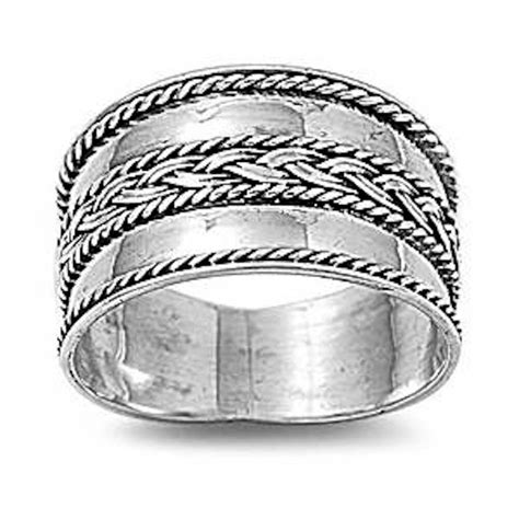 braided bali wide band  sterling silver ring sizes