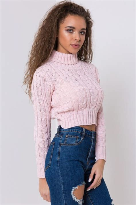 turtleneck crop sweater sweater pink knitted sweater turtleneck cropped