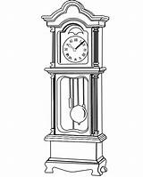 Grandfather Clock Coloring Drawings Clipart Drawing Clocks Face Pages Line Sheet Patterns Tattoo Pendulum Sketch Sheets Printable Father Grand Cliparts sketch template