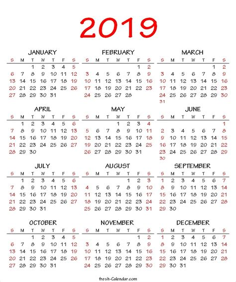 year calendar printable creativeinfotechinfo