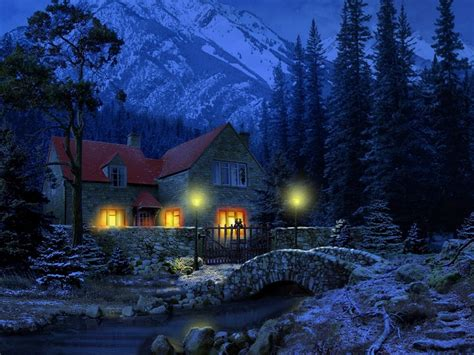 Snowy Cottage Animated Wallpaper - 3d snowy cottage wallpaper wallpapers gratis imagenes