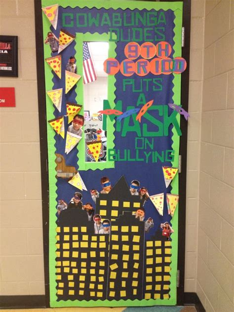 ninja turtles anti bullying classroom door  creation