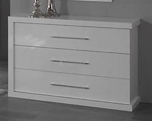 Commode Laqué Blanc : commode 3 tiroirs ancona laque blanc cac ~ Teatrodelosmanantiales.com Idées de Décoration