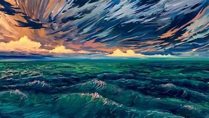 4k Digital Sea Scenery Waves Surf Horizon
