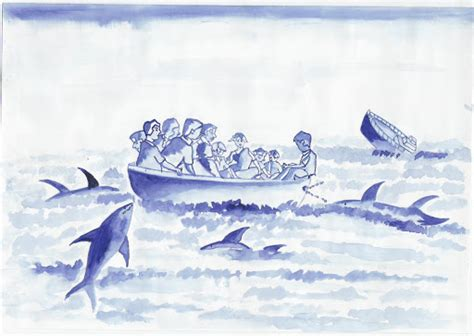 Sinking Boat Surrounded By Sharks by Cocopedia October 2012
