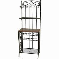 bakers rack with wine storage Metal Bakers Rack with Wine Storage, Antique Brass Finish ...