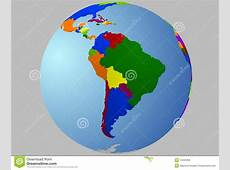 South America globe map stock vector Illustration of