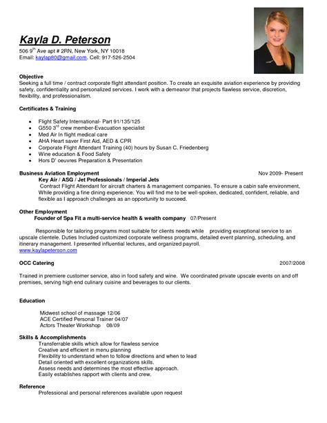 Photo Position In Resume by Sle Objective Time Corporate Flight Attendant