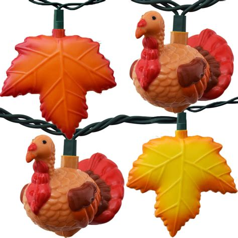 thanksgiving turkey fall leaf string lights