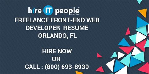 freelance front  web developer resume orlando fl