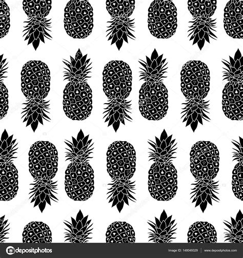 Fresh Black And White Pineapples Geometric Vector Repeat