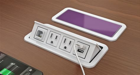 desk with power outlet customizable power and data grommet desk outlets nacre 174