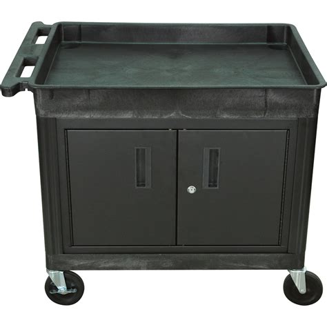 utility cabinet on wheels luxor cart with locking cabinet 400 lb capacity model