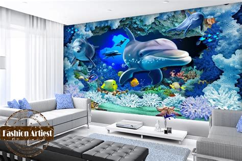 custom  kids ocean wallpaper mural  fish dolphin