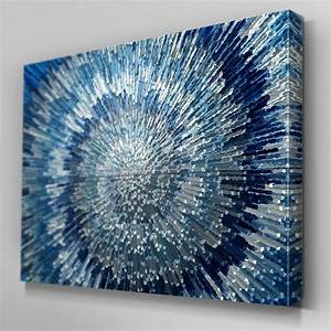 Ab blue silver swirl design canvas wall art ready to