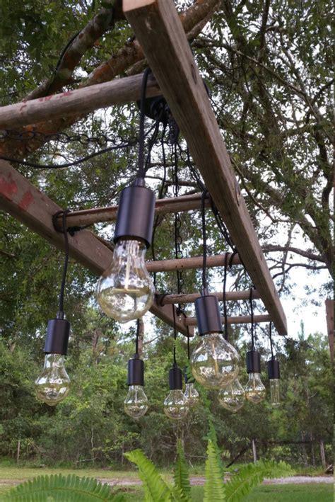 outdoor antique farmhouse ladder chandelier  vintage
