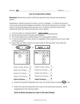 law  conservation  mass worksheet  science notebook