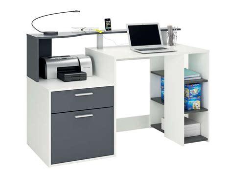 bureau gris blanc bureau 140 cm oracle coloris blanc et gris vente de