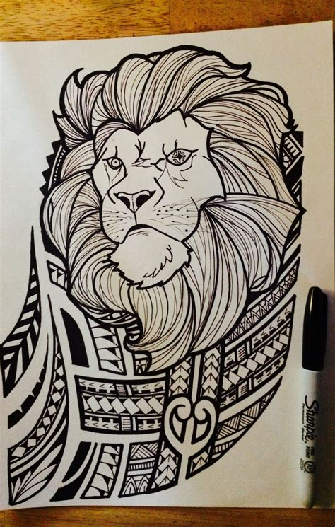 lion  polynesian tribal joel jalayahay art polynesian
