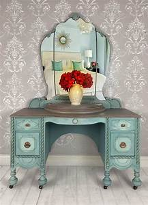 Vanity, Makeup, Table, Upcycled, Painted, Furniture, In, French, Country, Style