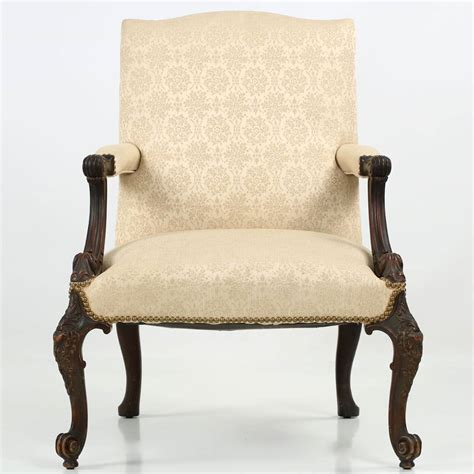 chippendale style mahogany open arm antique chair