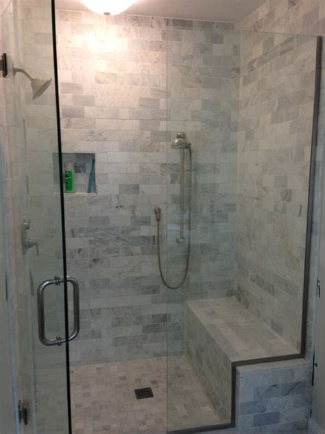 marble shower  custom bench  niches