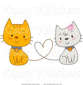 Cat with Heart Clip Art