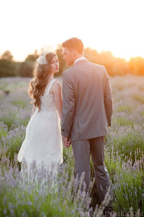 Lovely Wedding Couple In A Field Of Lavender Wedding