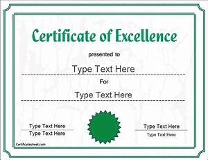 Business certificates award of excellence certificatestreetcom for Certificatestreet com