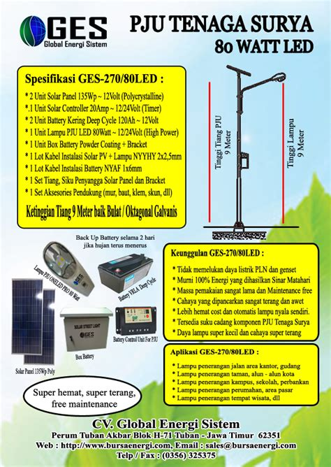 pju tenaga surya watt pju tenaga surya 80 watt paket pju ts led solar cell